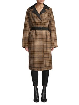 Wool Blend Reversible Checkered Coat by Ganni