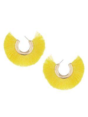 Rand Tassel Open Hoop Earrings by Etereo