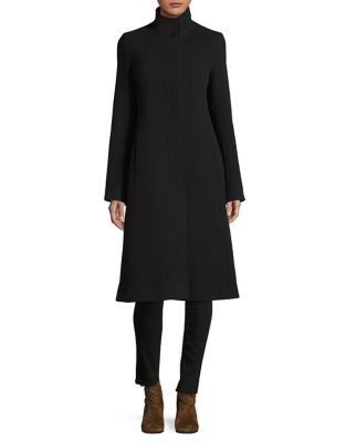 Stand Collar Cashmere And Wool Coat by Hiso