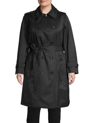 Plus Double Breasted Trench Coat by London Fog