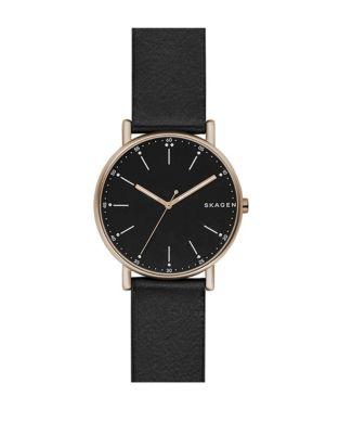 Signatur Analog Leather Strap Watch by Skagen