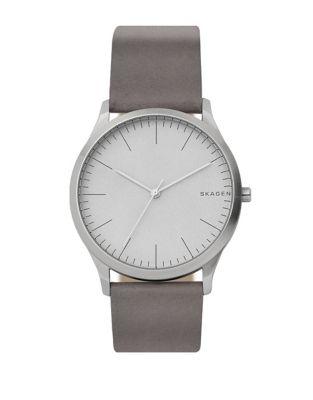Jorn Stainless Steel & Leather Strap Three Hand Watch by Skagen