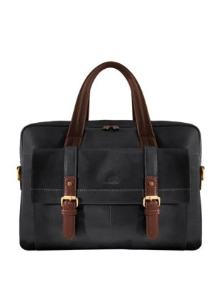Calabria Rfid Secure Double Compartment Leather Briefcase by Mancini