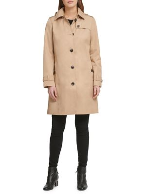 Buttoned Cotton Blend Raincoat by Dkny