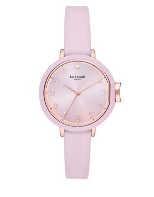 Womens Park Row Three Hand Pink Silicone Watch by Kate Spade New York