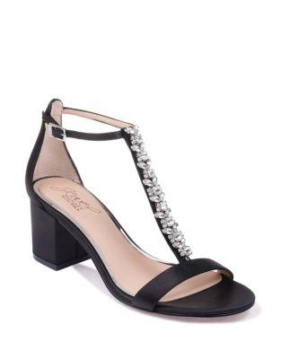 Metallic Block Heel Sandals by Jewel Badgley Mischka