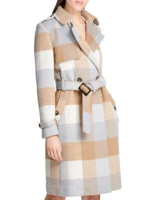 Plaid Wool Blend Belted Trench Coat by Dkny