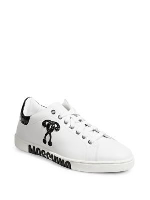 Logo Leather Sneakers by Moschino