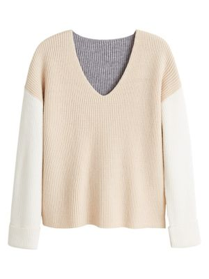 colourblock-ribbed-sweater by mango