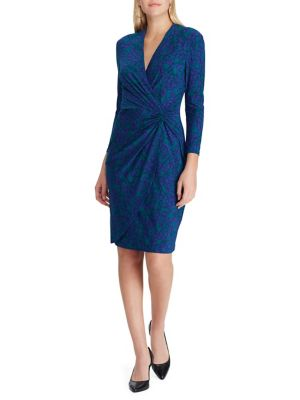 Twist Front Jersey Wrap Dress by Chaps