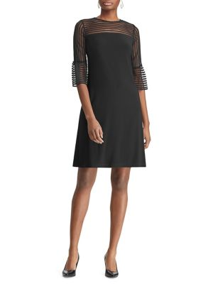 Sheer Panel Bell Cuff Straight Fit Shift Dress by Chaps