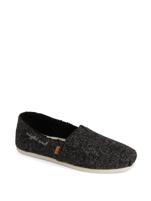 Embroidered Faux Fur Lined Espadrilles by Toms