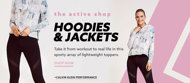 06ea6ad6b9e Calvin Klein Performance soft drape hoodie sweatshirt with pastel print and  black workout leggings at lordandtaylor