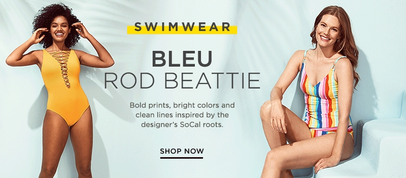 eeb9faa85c42d Bleu Rod Beattie yellow lace-up one-piece swimsuit and striped one-piece