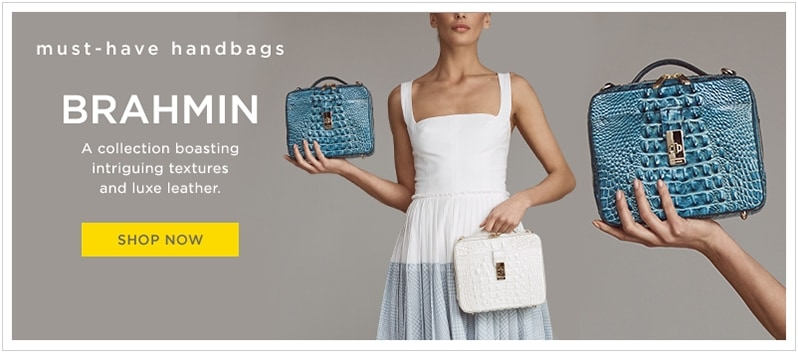 5b57b536239b Brahmin textured leather square handbag with top handle in aqua blue and  white at lordandtaylor.