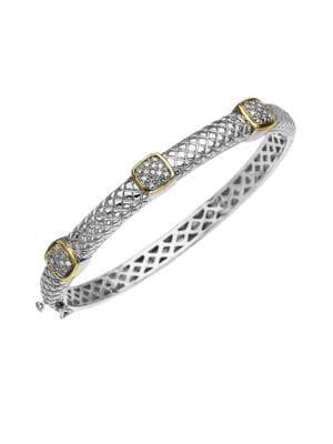 14K Gold and Sterling Silver Diamond Bracelet