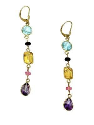 Semi-Precious, Multi-Stone and 14K Yellow Gold Linear Drop Earrings