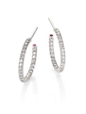 """0.52 TCW Diamond & 18K White Gold Inside-Outside Hoop Earrings/0.5"""""""