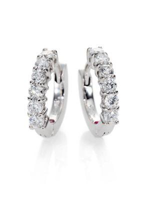 """0.70 TCW Diamond & 18K White Gold Huggie Hoop Earrings/0.5"""""""