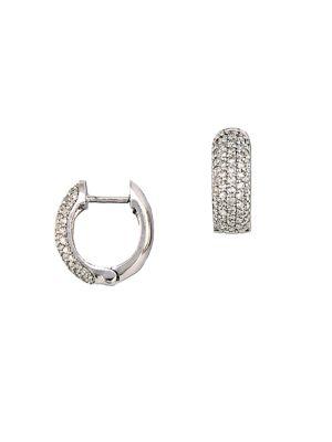 0.53 TCW Diamond & 14K White Gold Huggie Hoop Earrings