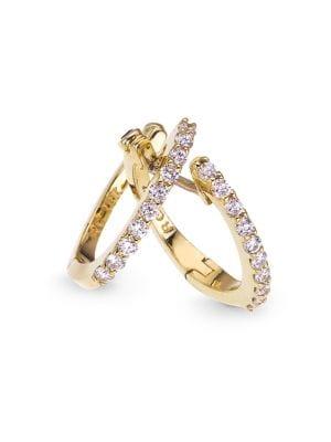 0.2 TCW Diamond and 18K Yellow Gold Huggie Hoop Earrings, 0.5in