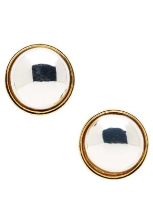 Image of Two-Tone Button Stud Earrings