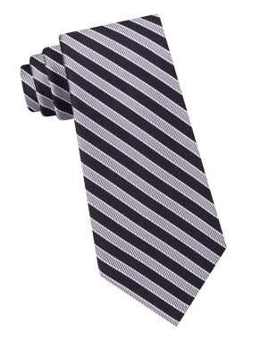 Fine Line Stripe Silk...
