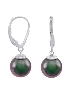 Image of 10MM Grey Round Pearl & Sterling Silver Leverback Drop Earrings