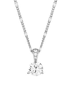 c5aa55e69 Round Solitaire Crystal Pendant Necklace SILVER. QUICK VIEW. Product image