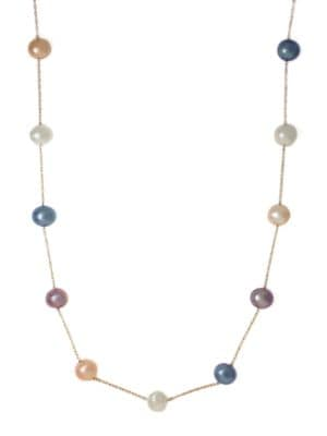 Multicolored Freshwater Pearl Station Necklace in 14 Kt. Yellow Gold