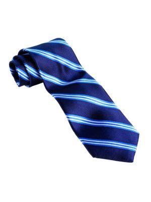 Classic Fit Striped Silk...