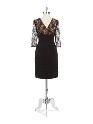 Draped V Neck Sheath Dress by Adrianna Papell