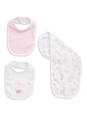 Image of 3-Piece Rose Bib And Cloth Set