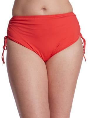 Ruched Hipster Swim Bottoms by Michael Michael Kors Plus