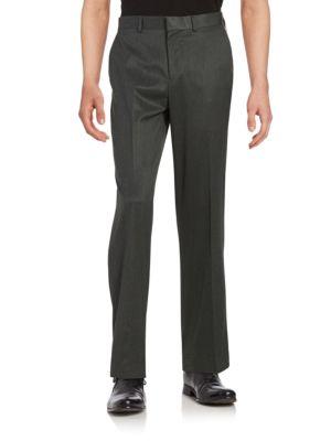 Straight-Fit Flat-Front No-Iron Herringbone Dress Pant 500019926963