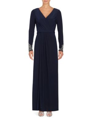 V-Neck Beaded Sleeve Evening Gown by Vince Camuto