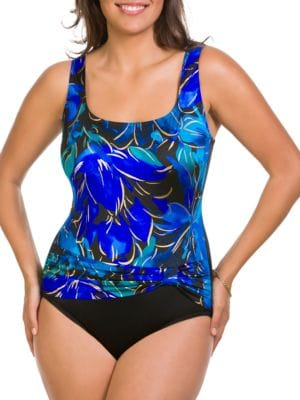 Floral Pleated One-Piece Swimsuit by Longitude