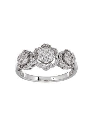 0.50 TCW Diamonds and 14K White Gold Ring
