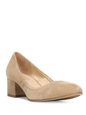 Fausta Block-Heel Suede Pumps by Franco Sarto