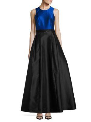 Two-Tone Sleeveless Beadaed Ball Gown. by Calvin Klein