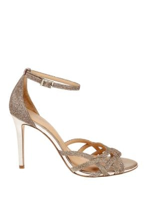 Shimmer Belle Glittered Ankle-Strap Sandals by Belle Badgley Mischka