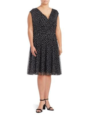 Plus Girl's Dotted A-Line Dress by London Times