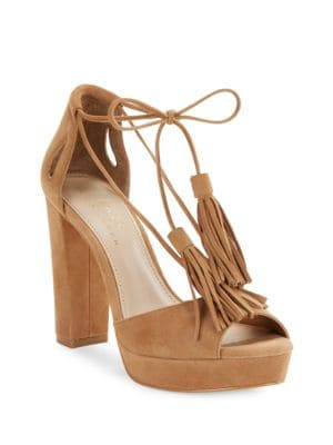 Mara Open-Toe Suede Pumps by 424 Fifth