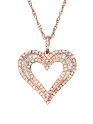 0.5 TCW Diamond, 14K Rose Gold Pendant and Chain
