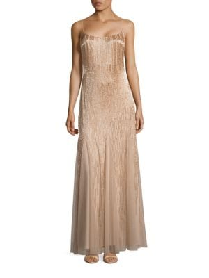 Spaghetti Strap Ombre Beaded Gown by Adrianna Papell