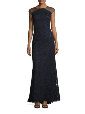 Embroidered Mesh Gown by Tadashi Shoji