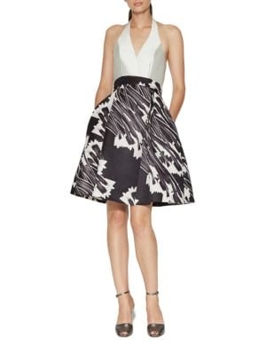 Halter Neck Print Blocked Fit and Flare Dress by Halston Heritage