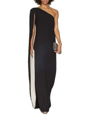 One-Shoulder Cape Gown 500031907470