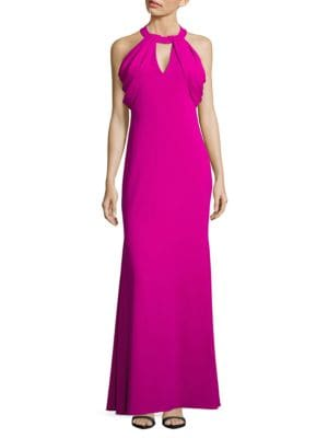 Strap-Accented Cold-Shoulder Gown by Badgley Mischka