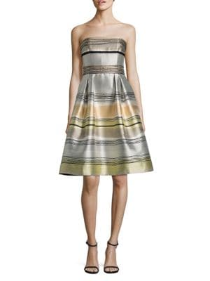 Strapless Striped Dress by Carmen Marc Valvo